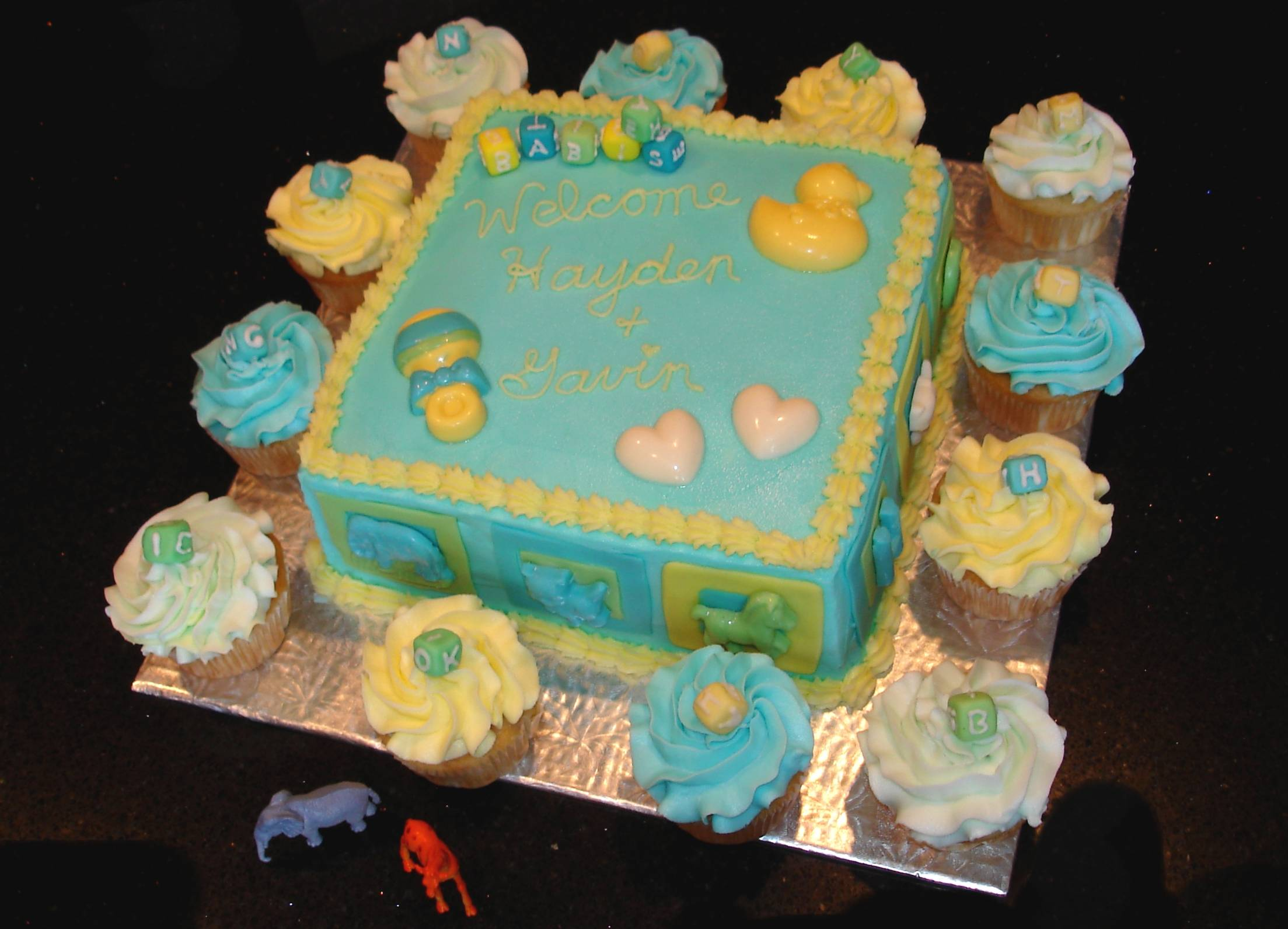 Baby Shower for Twins - cake and cupcakes