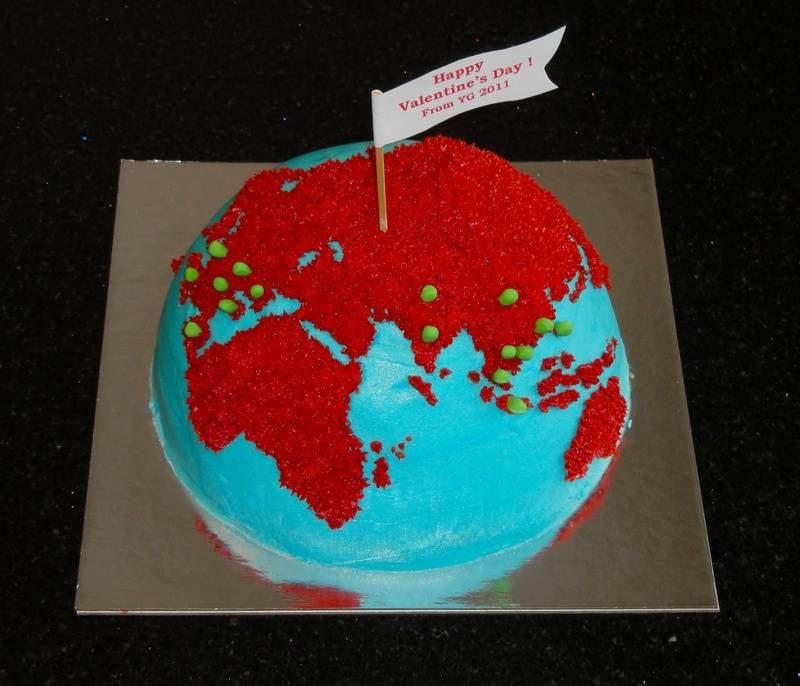 Valentine's Day World Travellers Cake