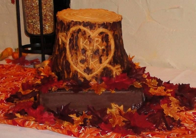 Carved Tree Trunk Wedding Cake