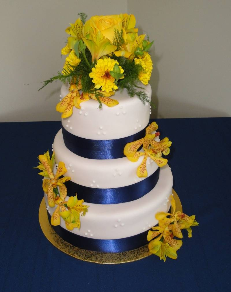 Wedding Cake with Orchids & Navy Blue