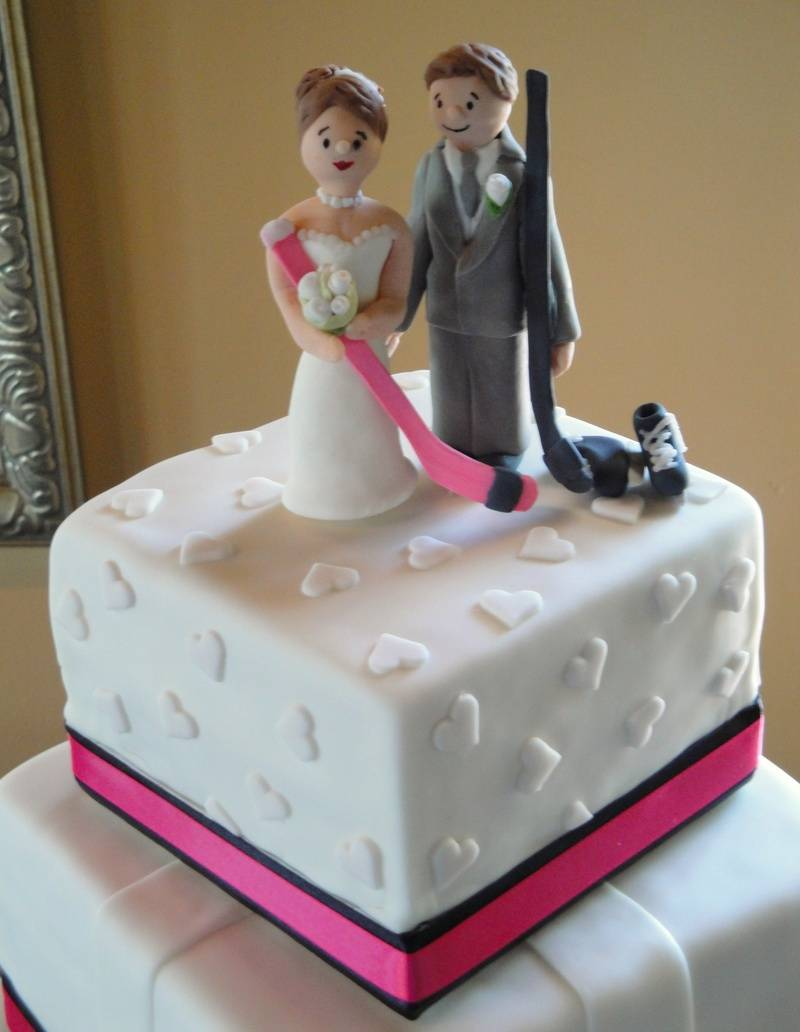 Fondant Bride & Groom Hockey Players Cake Topper