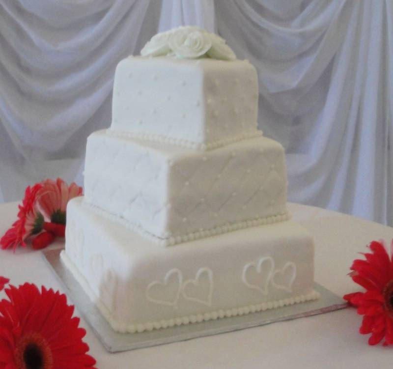 3 Tiered Wedding Cake with Quilting and Hearts