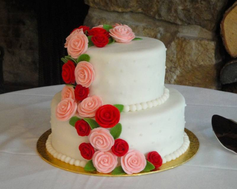 Pink & Red Cascade of Roses Wedding Cake