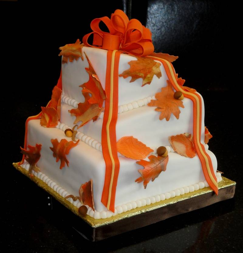 Fall Theme Topsy Turvy Wedding Cake