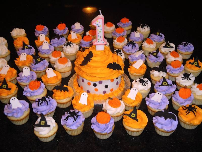 Halloween Theme 1st Birthday Cake & Cupcakes