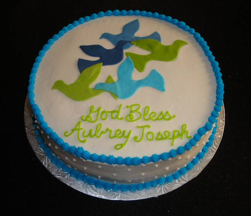 Baptism Cake with Dove Design