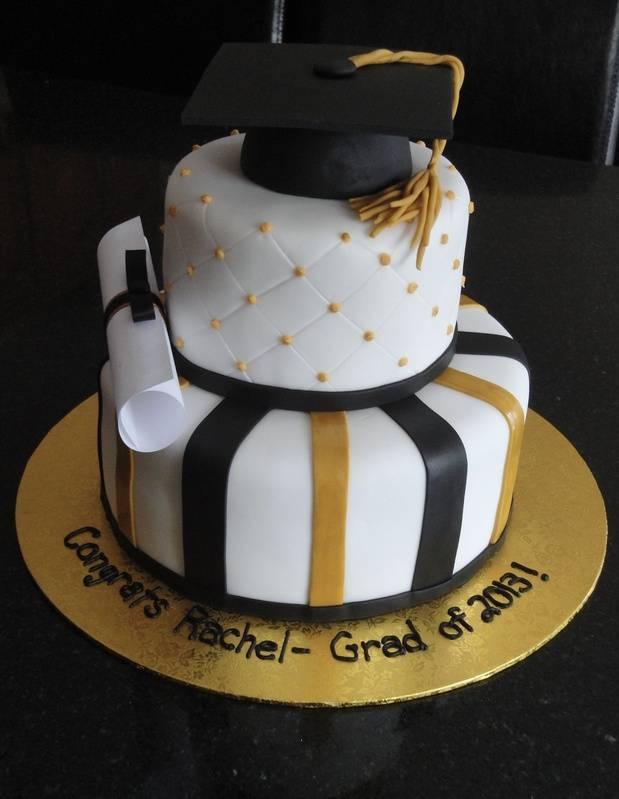 Graduation Cake in White Gold & Black