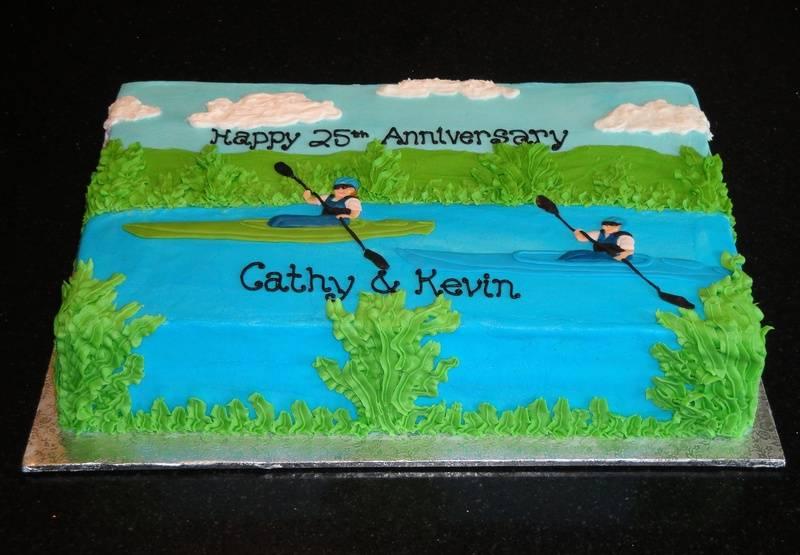 25th Anniversary Kayaking Theme Cake