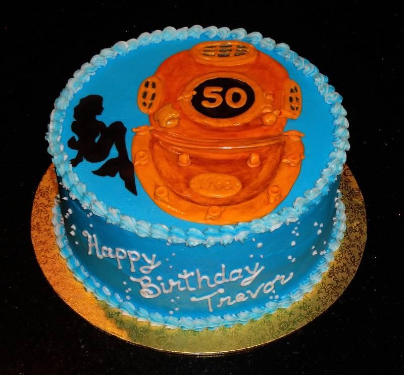 Diving Helmet 50th Birthday Cake