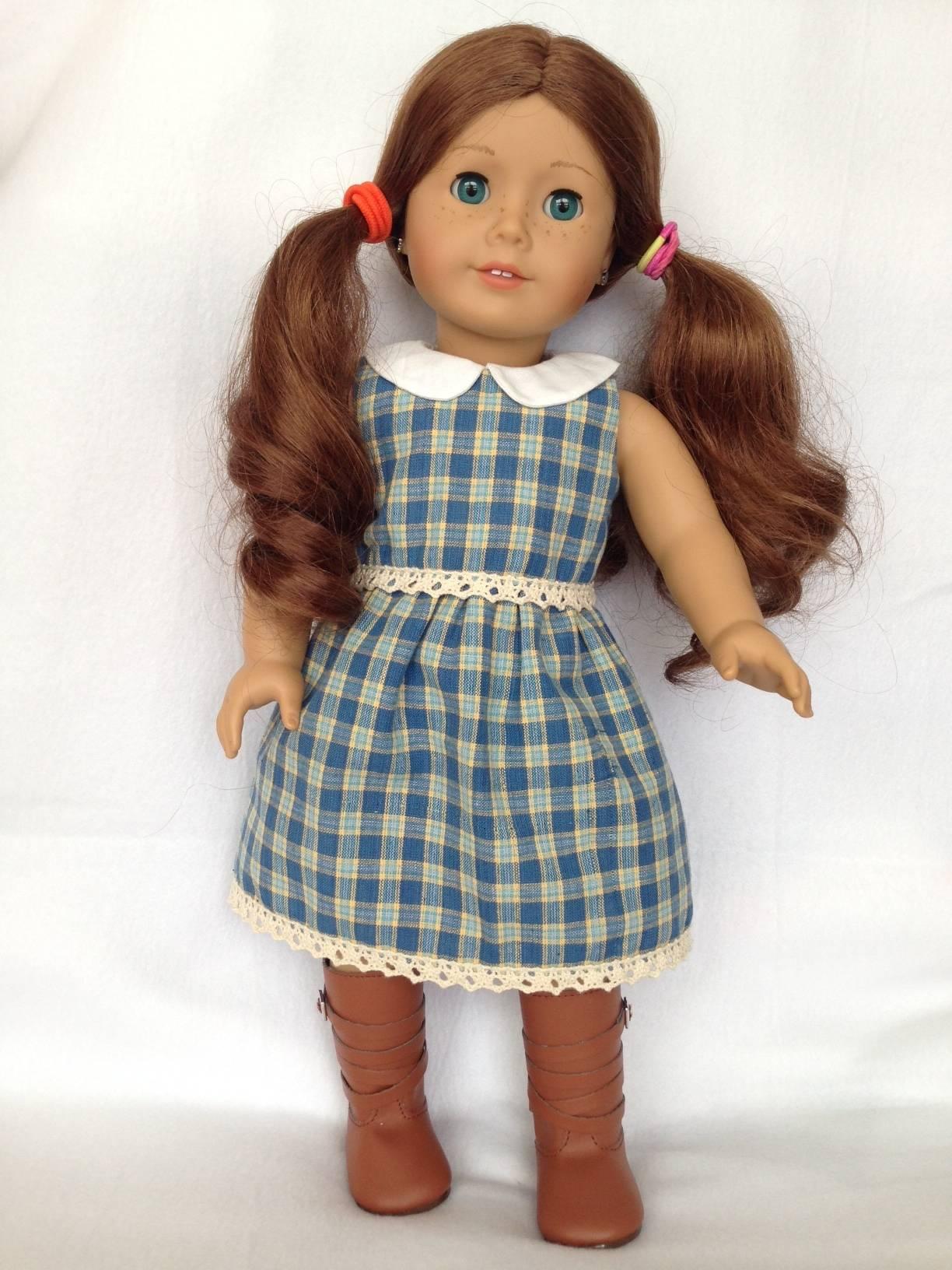 Blue Plaid doll dress 1