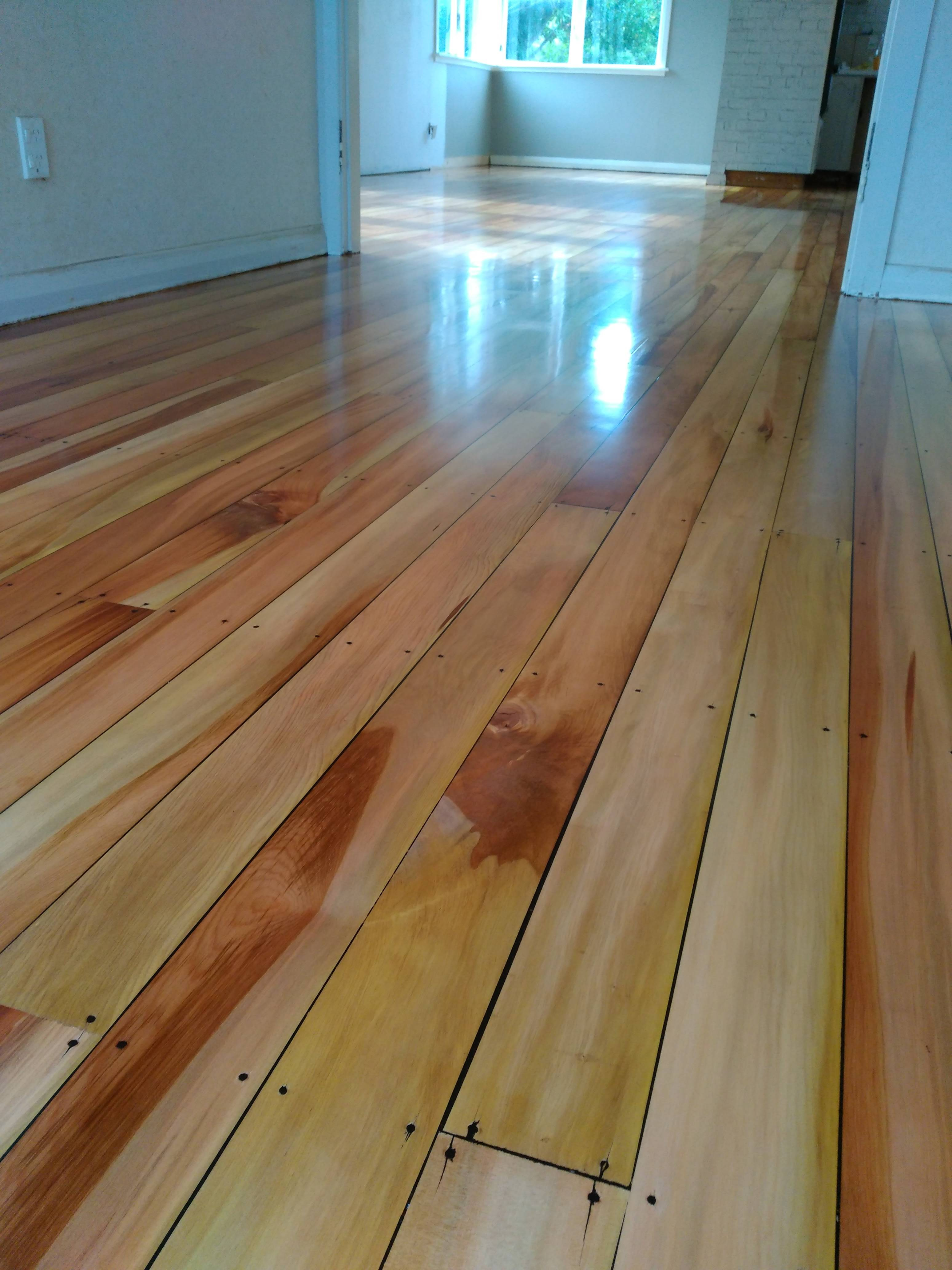 Matai with gaps filled and a Bona Traffic satin two-component waterborne finish. Shaw's Floor Sanding 0272319335