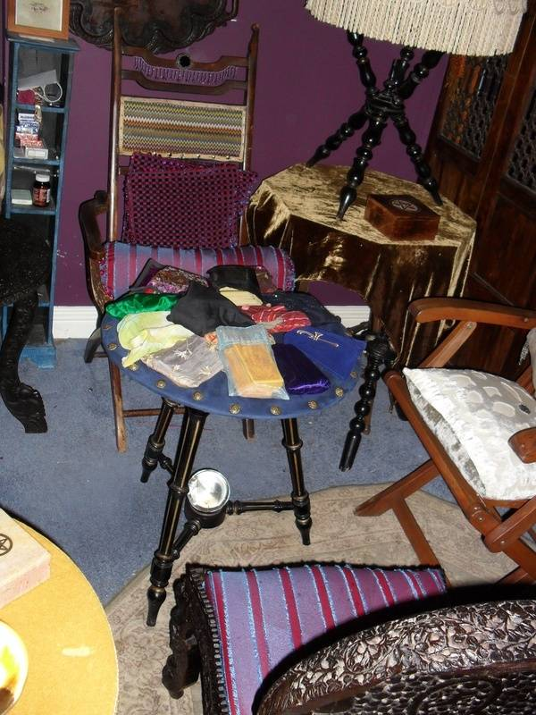 sues room with its gypsy table collection,