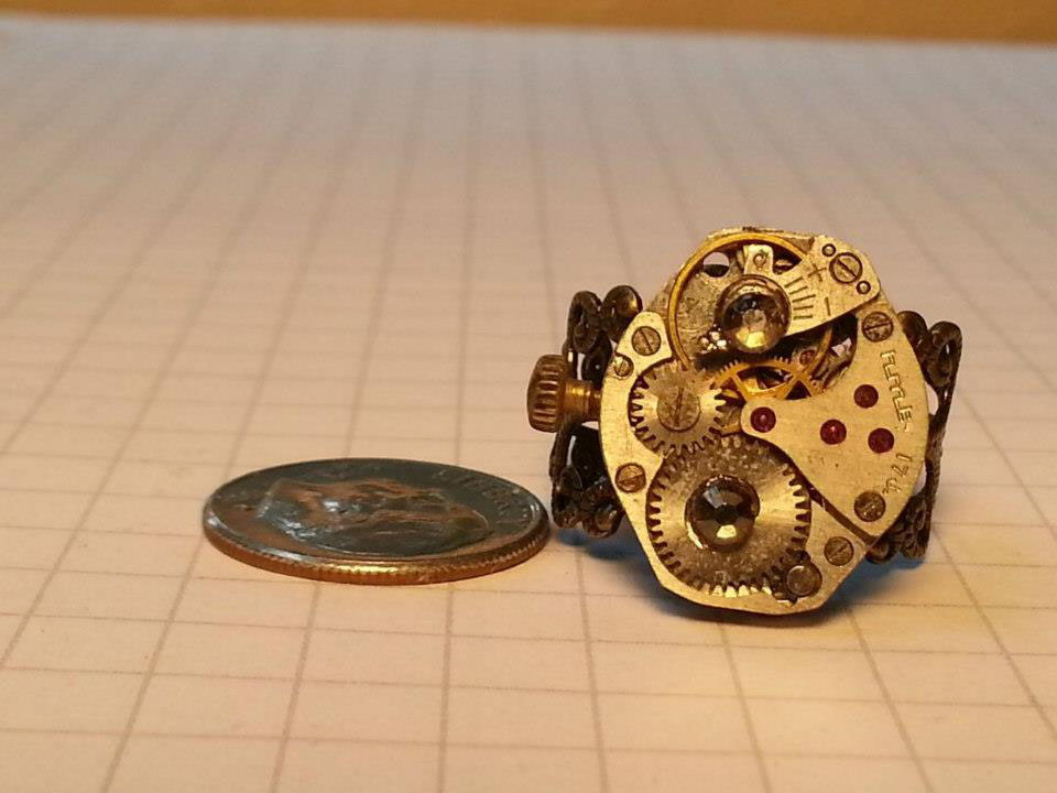 watch movement ring with Swarovski crystal
