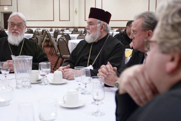 Archbishop Nathaniel, Metropolitan Kallistos and invited guests at the private dinner