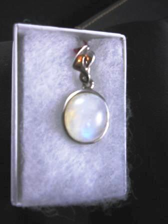 09-00110 Rainbow Moonstone in Sterling Silver Pendant