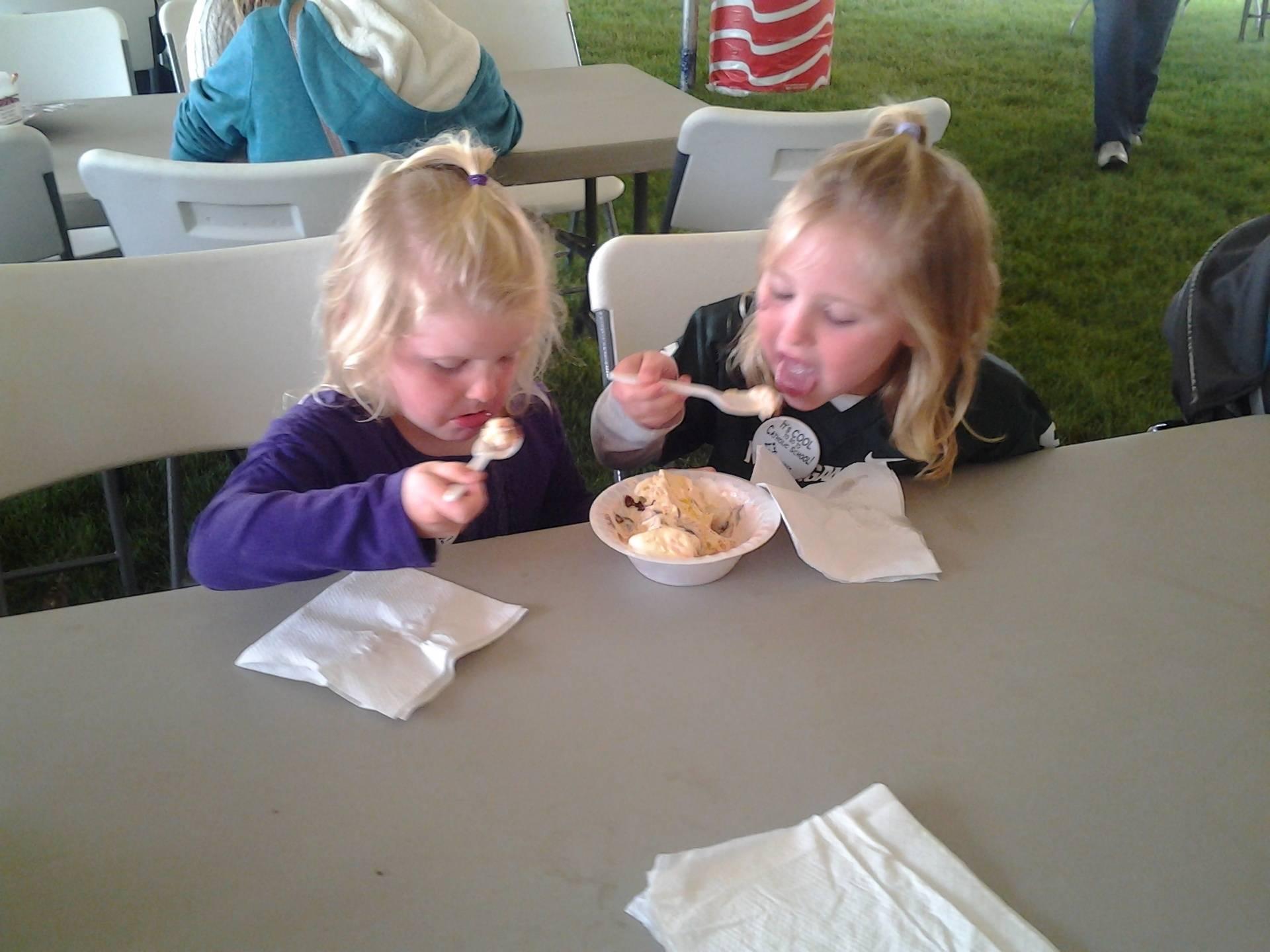 Sharing an ice cream sundae.