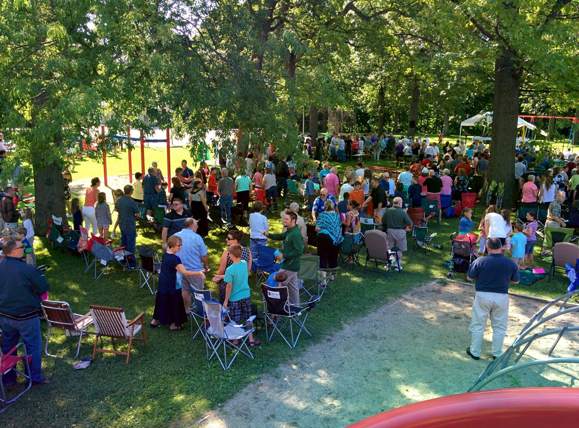The Outdoor Mass drew hundreds of people to the park.
