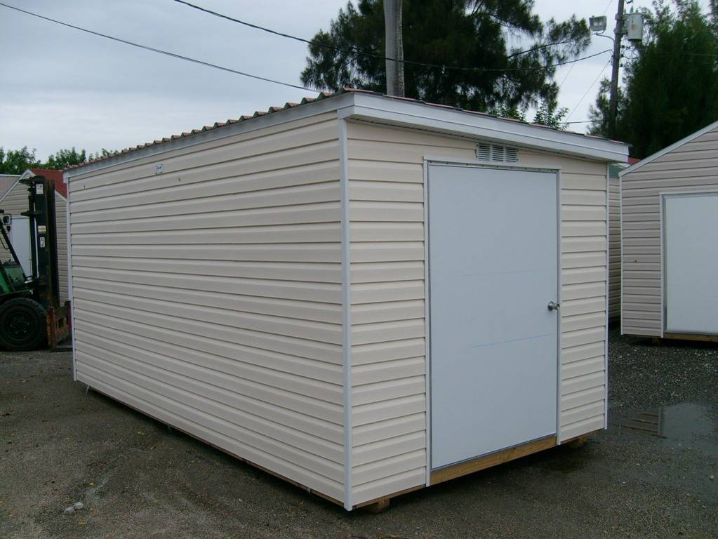 8x16 with a single gable and permatile roof