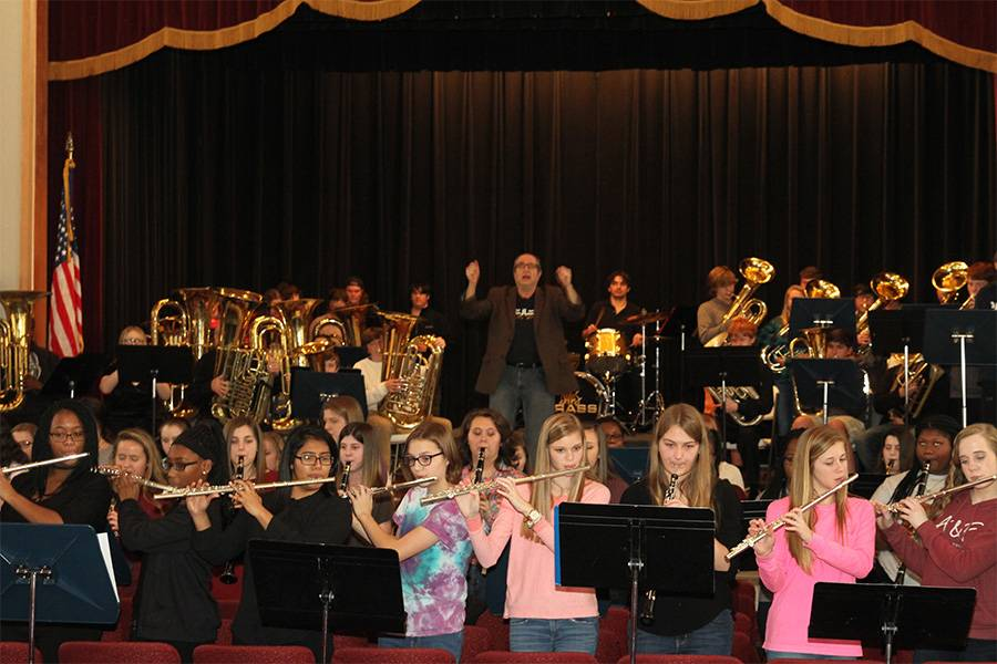 Rehearsing with TCHS band