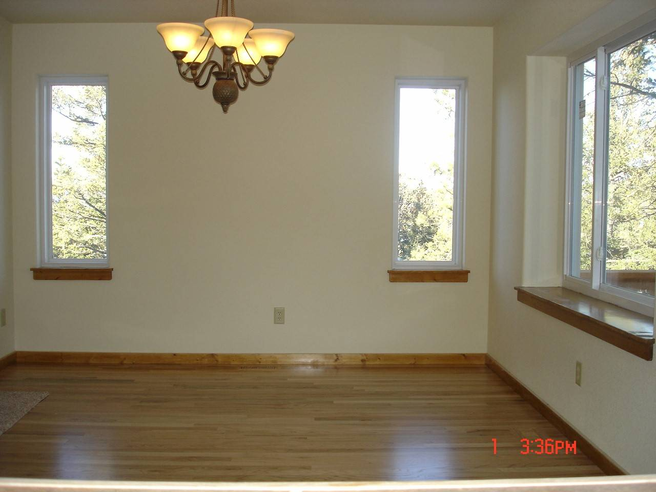 Bay windows, custom lighting, and hardwood floors