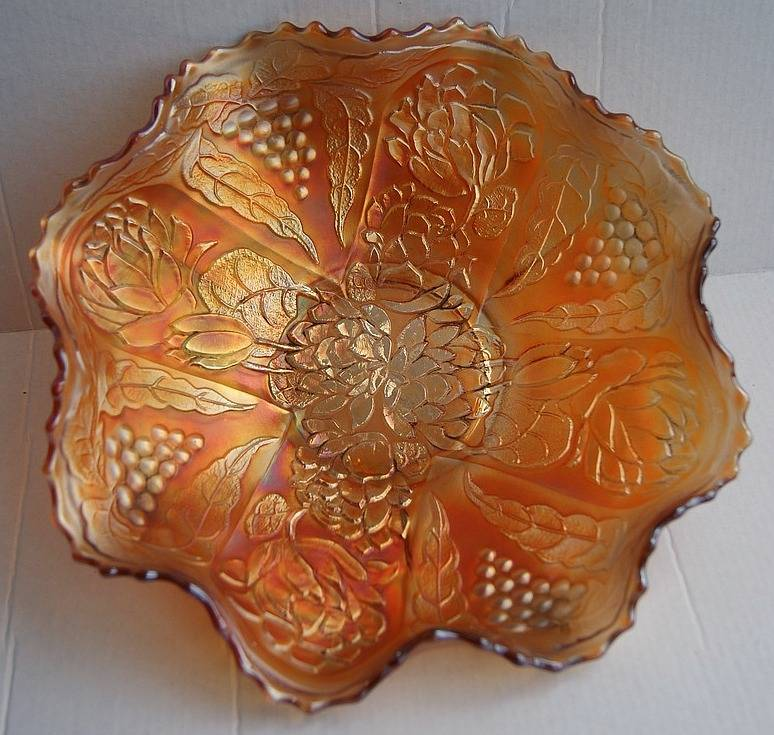 Lotus and Grape ruffled bowl, marigold