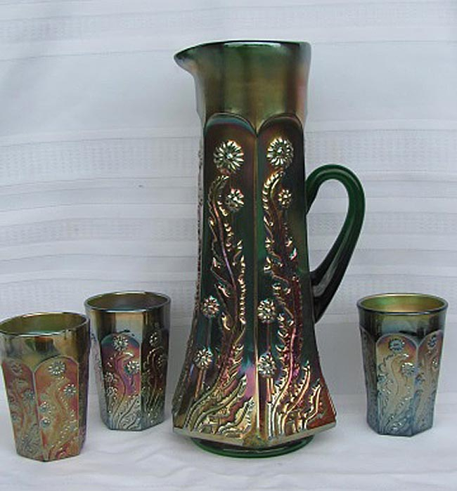 Paneled Dandelion part water set - green