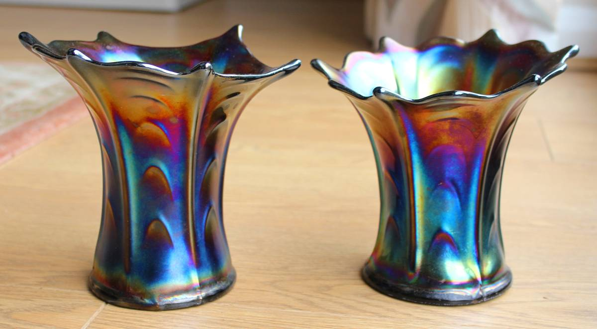 Pair of Pulled Loop amethyst squatty vases