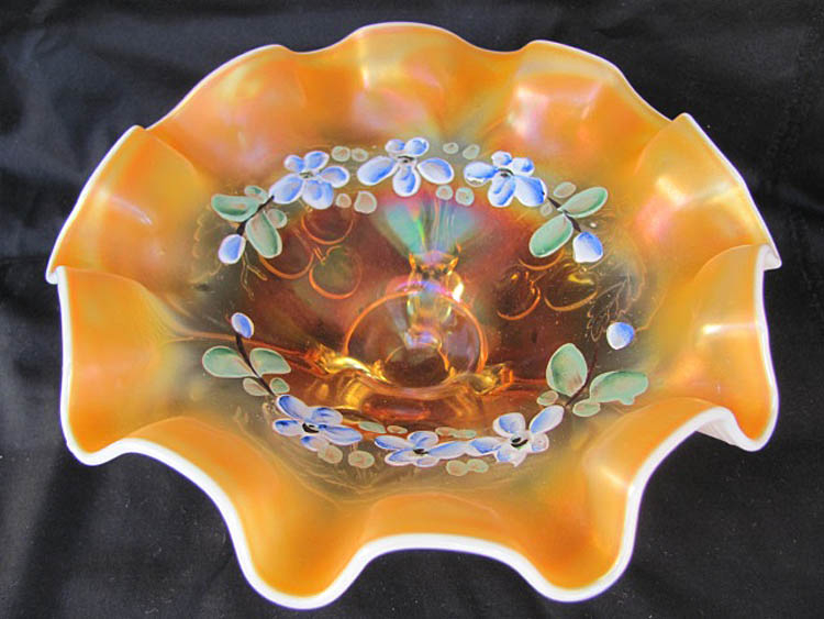 Paneled Cherries on exterior, 3ftd 10ruffled enameled bowl, peach opal