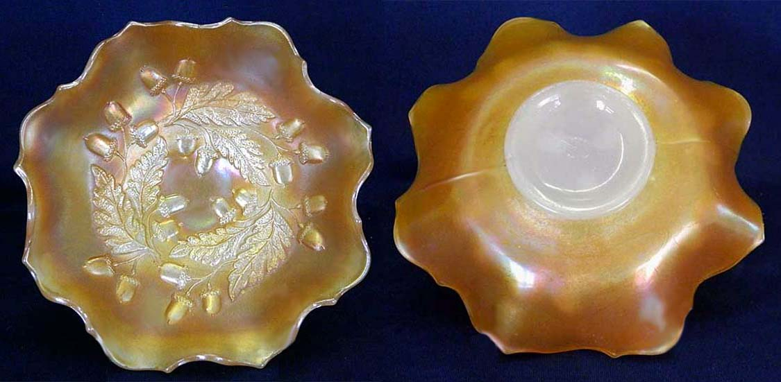 "Acorn 7"" ruffled bowl - marigold on moonstone"
