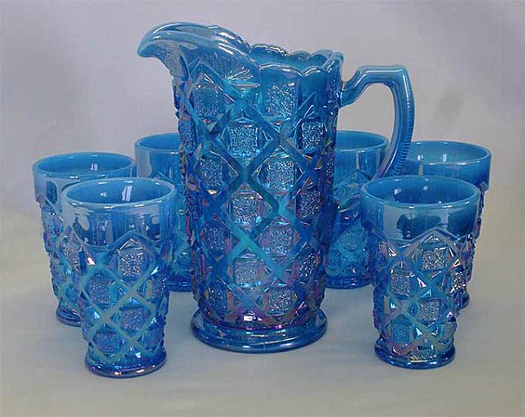 Checkerboard water set, blue opal, L.G.Wright