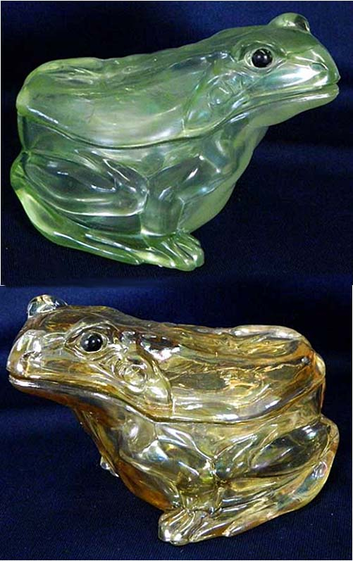 Covered Frog in ice green and marigold,  possibly U.S. Glass?