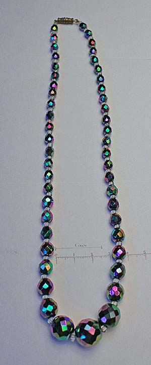 single strand necklace, graduated, separated with clear glass beads