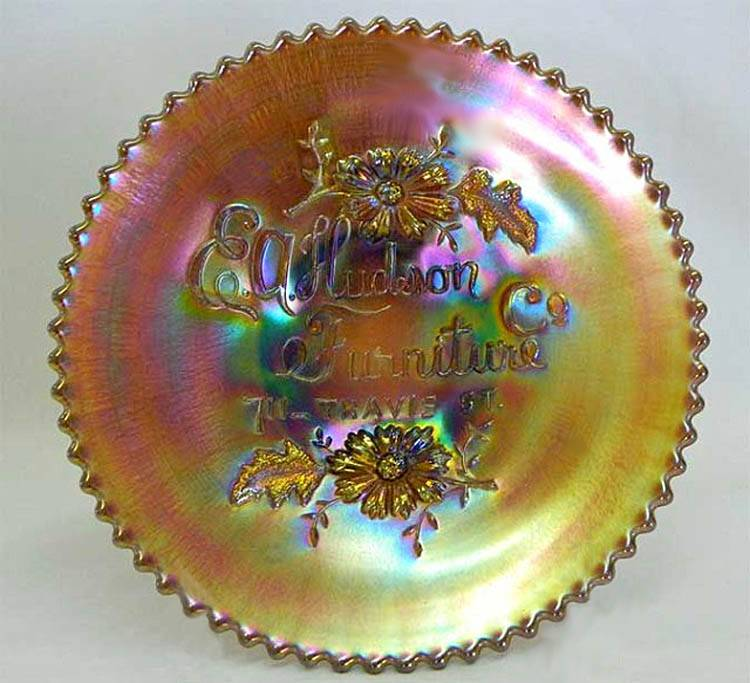 "NORTHWOOD, E.A. Hudson Furniture Co. 6"" plate - amethyst"