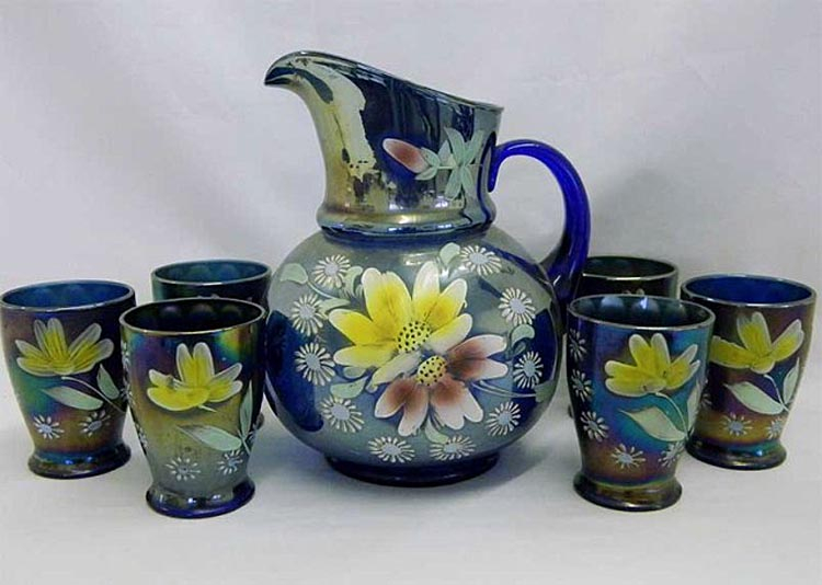 (Enameled) Daisy & Little Flowers waterset, blue, Northwood