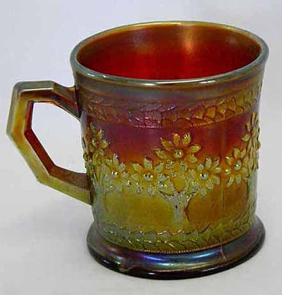 Orange Tree shaving mug, red