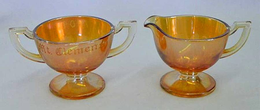 Orphan Annie, marigold sugar and creamer by Westmoreland USA
