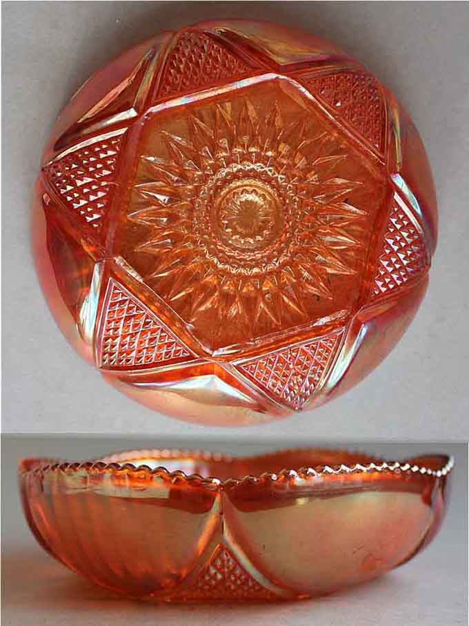 Hobstar and Cut Triangles bowl, marigold -Sowerby