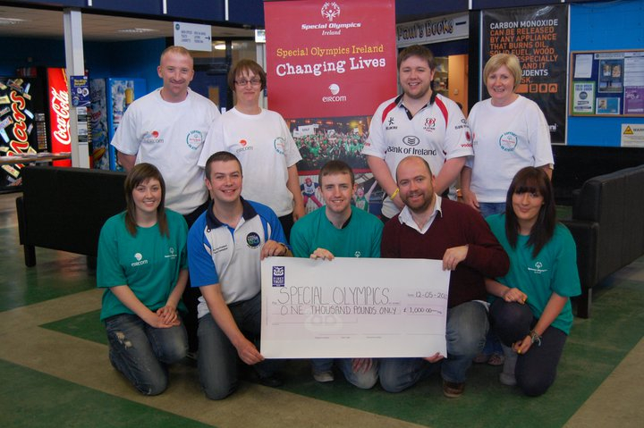 Handing over cheque to Ronan McCay of Special Olympics Ireland