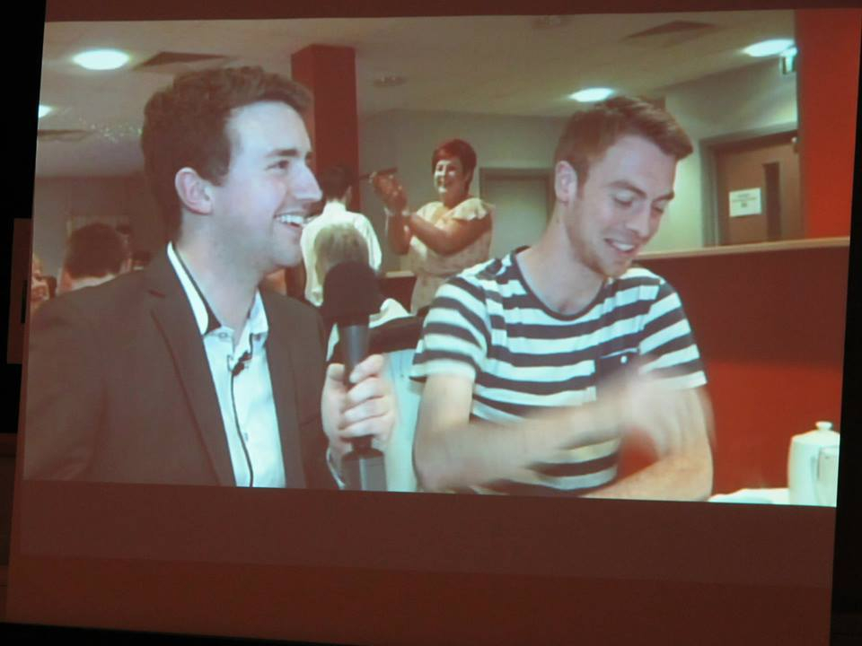 Picture of us from the big screen. Me sharing a laugh with a chap who admitted to eating several starters. If the food's good, why not?