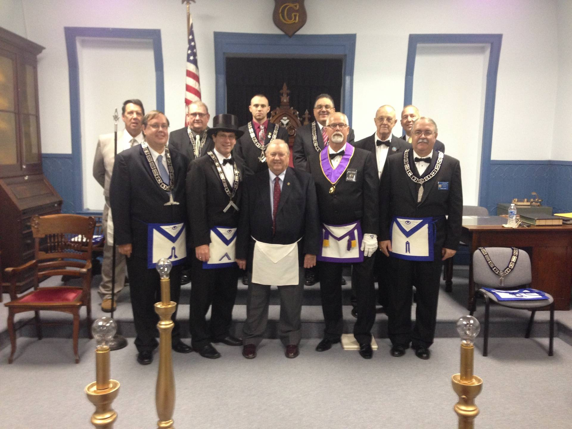 Officers of Acacia Lodge with 60 year award recipient