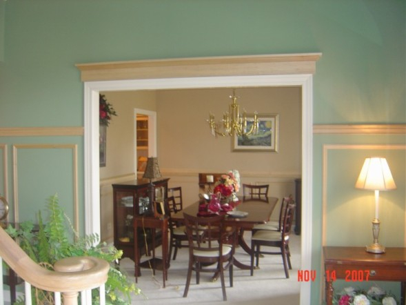 Foyer into Dining Room - Door pediment & chair rail and shadow boxes (before final paint)
