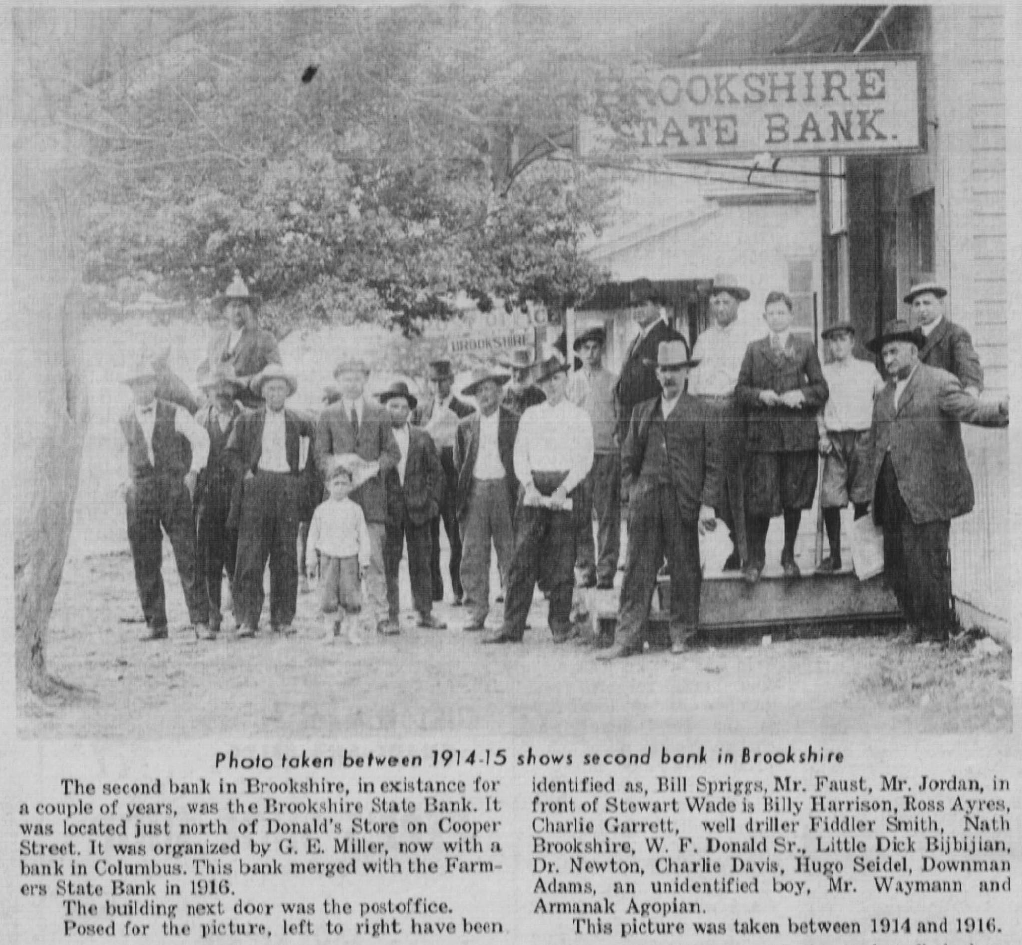 Second Bank of Brookshire 1914-1915