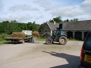 Unloading turf