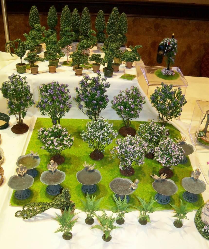 Outdoor plants and birdbaths