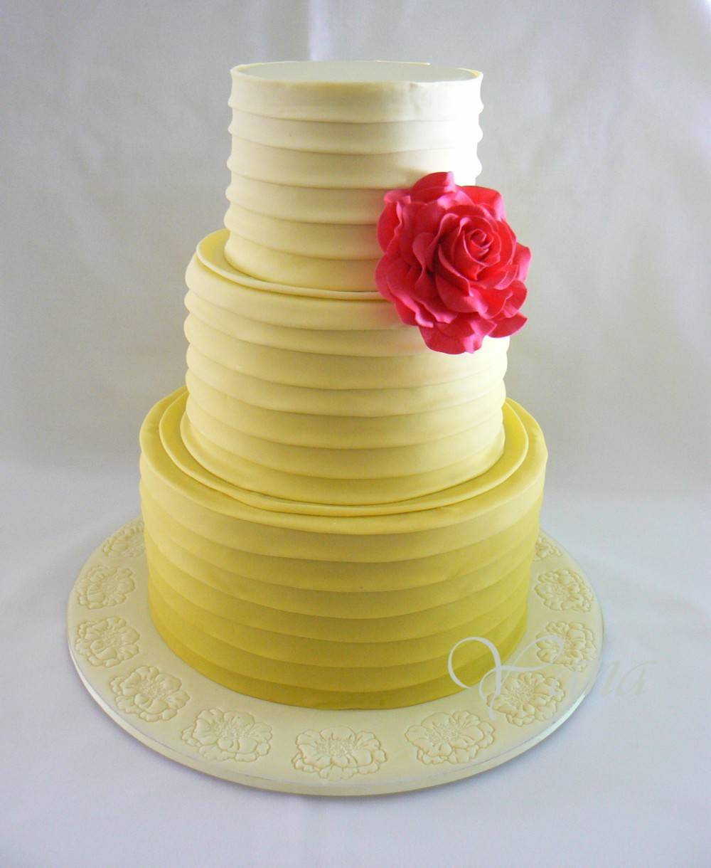 Ombre Folds Engagement Cake