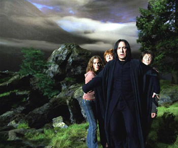 Dan, Emma and Rupert with Snape