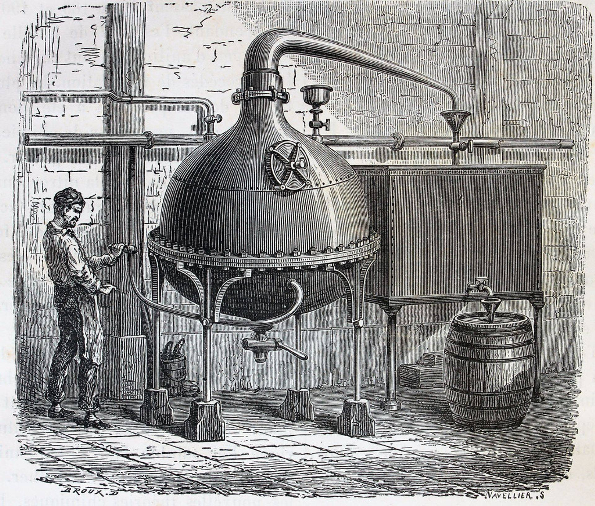 Engraving of a distiller at work