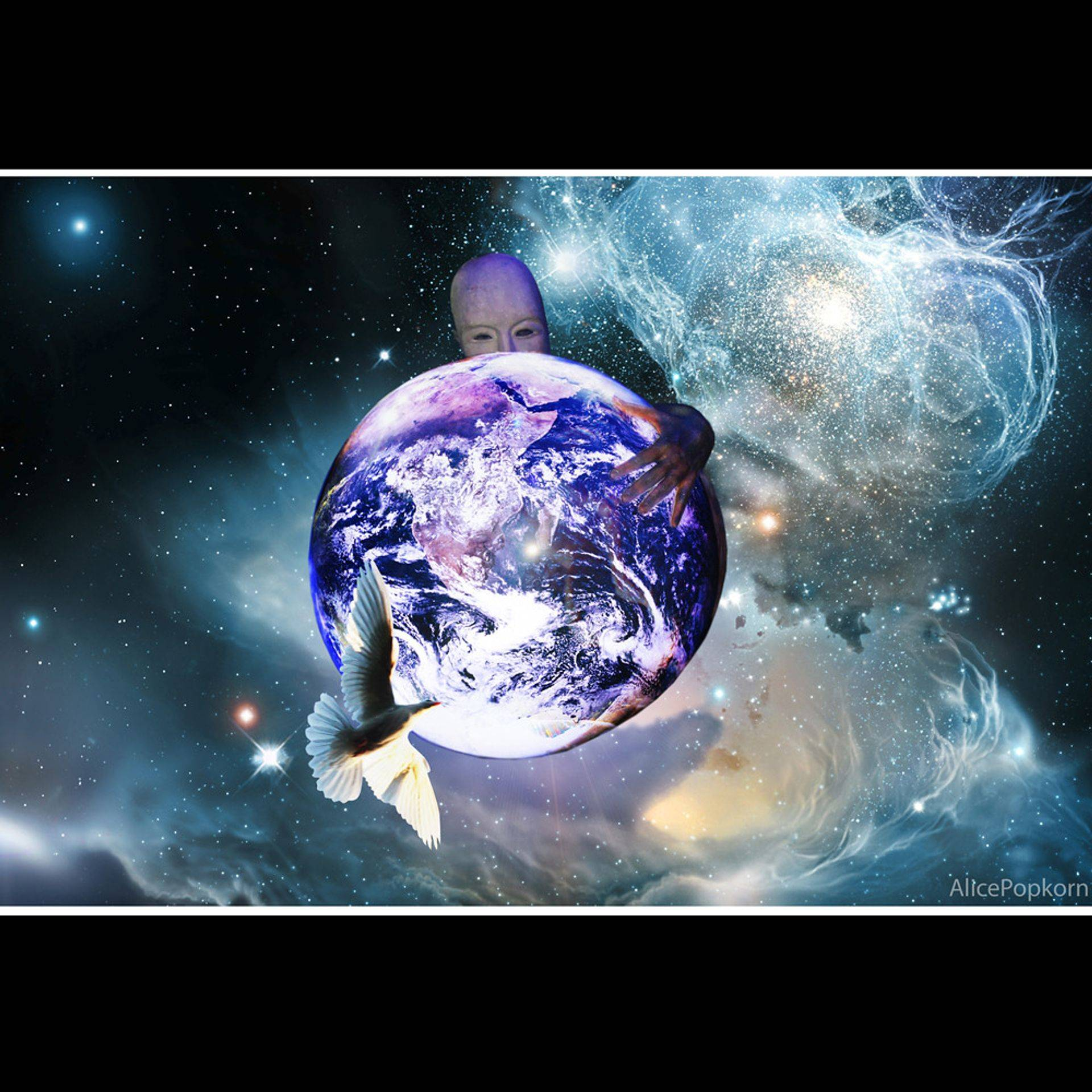 the peace dove encircling the earth