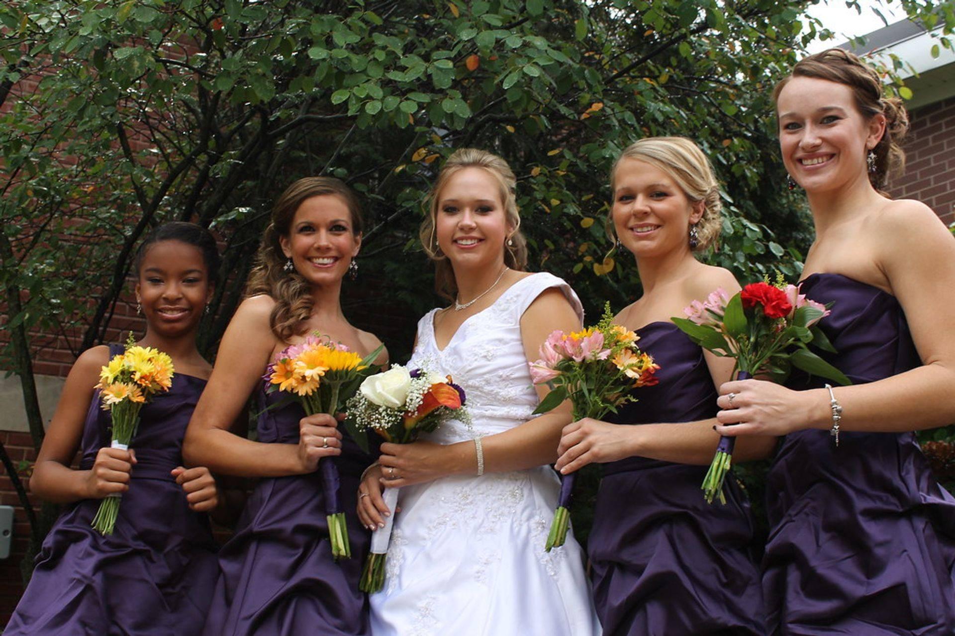 wedding, bride and bridemaids