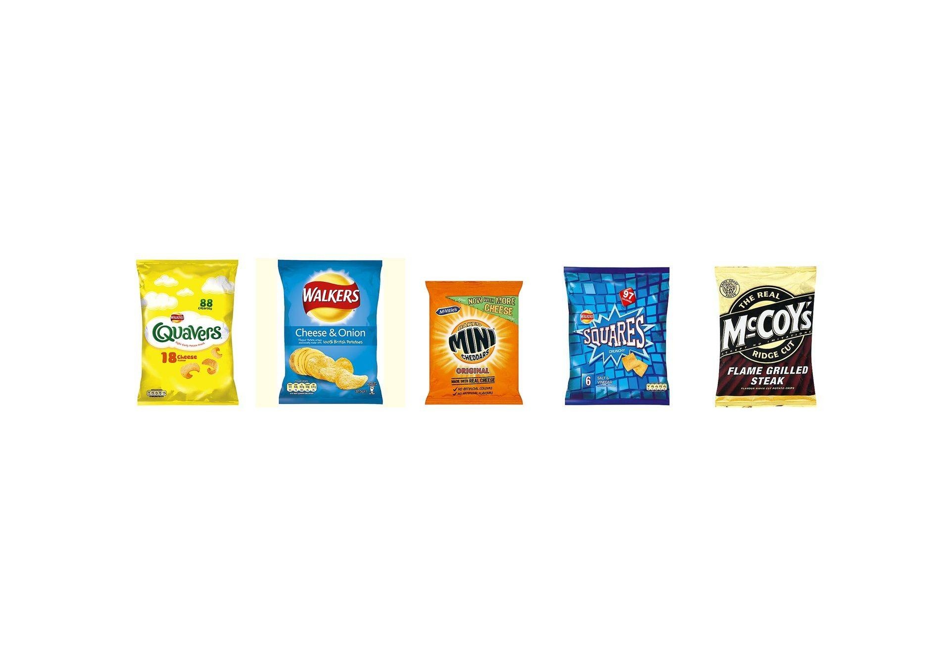 Line up of five bags of best selling crisps